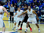 January 20, 2015 - Colorado Springs, Colorado, U.S. -  Air Force forwards, Hayden Graham #35, and DeLovell Earls #21, block out SDSU's Malik Pope #21, during a Mountain West Conference match-up between the San Diego State Aztecs and the Air Force Academy Falcons at Clune Arena, U.S. Air Force Academy, Colorado Springs, Colorado.  San Diego State defeats Air Force 77-45.