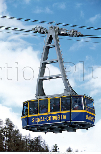 CABLE CAR, St Moritz, Switzerland, 9501. Photo: Glyn Kirk/Action Plus....1995.wintersports.skiing.travel.winter sport.winter sports.wintersport.ski lift