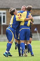 Romford celebrate their first goal scored by Richard Oxby (C) - Romford vs Beaconsfield SYCOB - FA Cup Preliminary Round Football at Mill Field, Aveley FC - 29/08/10 - MANDATORY CREDIT: Gavin Ellis/TGSPHOTO - SELF-BILLING APPLIES WHERE APPROPRIATE. NO UNPAID USE. TEL: 0845 094 6026