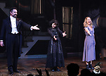 "Adam Dannheisser, Sophia Anne Caruso and Kerry Butler during the Broadway Opening Night Performance Curtain Call for ""Beetlejuice"" at The Winter Garden on April 25, 2019 in New York City."