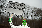 "Copenhagen, Denmark- On November, 30, 2009, a delegation of Avaaz aliens descended on the meeting between Prime Minister Lars Lokke Rasmussen and the next President of the European Council, Herman Van Rompuy, as they prepared for the Copenhagen climate summit. The aliens, who also searched for climate leaders at the Barcelona climate meeting last month, were at the Prime Minister's Marienborg residence today asking, ""Where are the EU climate leaders? Take me to your EU climate leaders."" (Credit: Robert van Waarden/Avaaz.org)"