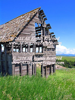 An antique barn sculpture, or skeleton sits in Felt, ID of Teton Valley, reminding passersby of the farming history of the valley where tourism now has become the main economic base. (mms)