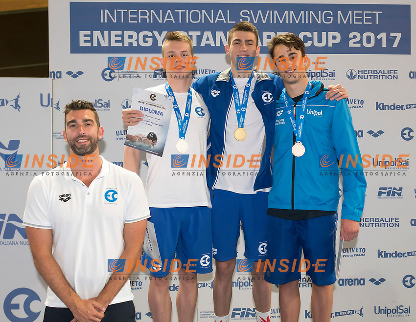 Junior Boys' 200m Individual Medley <br /> KOLESNIKOV Kliment ENERGY STANDARD Gold Medal <br /> STUPIN Maxim ENERGY STANDARD Silver Medal <br /> RAZZETTI Alberto ITALY Bronze Medal <br /> James Gibson coach <br /> Lignano Sabbiadoro 07-05-2017 Ge.Tur Complex <br /> Energy Standard Cup 2017 Nuoto<br /> Photo Andrea Staccioli/Deepbluemedia/Insidefoto