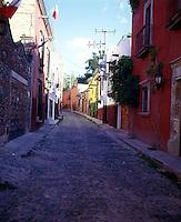 A typical cobble stone street in San Miguel.  San Miguel de Allende, Guanajuato, Mexico 16-9-05