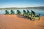 Lake George, NY. Adirondack chairs and dock.