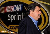 Oct. 11, 2009; Fontana, CA, USA; NASCAR Sprint Cup Series president Mike Helton during the Pepsi 500 at Auto Club Speedway. Mandatory Credit: Mark J. Rebilas-