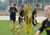 20180304 - LARNACA , CYPRUS :  Belgian Tessa Wullaert and Heleen Jaques (r) pictured during a Matchday -1 training from The Belgian Red Flames prior to their game against Austria , on Sunday 4 March 2018 at the Alpha Sports Grounds in Larnaca , Cyprus . This will be the third game in group B for Belgium during the Cyprus Womens Cup , a prestigious women soccer tournament as a preparation on the World Cup 2019 qualification duels. PHOTO SPORTPIX.BE | DAVID CATRY