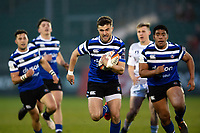 Tom De Glanville of Bath United goes on the attack. Premiership Rugby Shield match, between Bath United and Gloucester United on April 8, 2019 at the Recreation Ground in Bath, England. Photo by: Patrick Khachfe / Onside Images