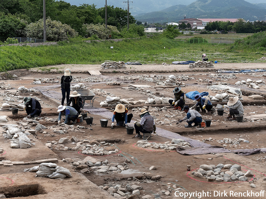 Arch&auml;ologische Ausgrabung in Gyeongju, Provinz Gyeongsangbuk-do, S&uuml;dkorea, Asien, UNESCO-Weltkulturerbe<br /> archelogical excavation, Gyeongju,  province Gyeongsangbuk-do, South Korea, Asia, UNESCO world-heritage