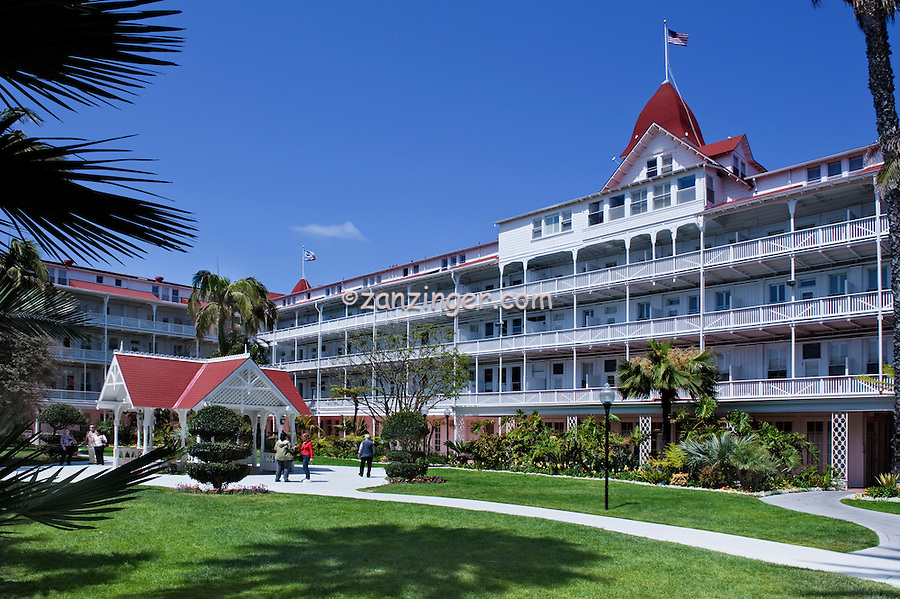 Hotel del Coronado, iconic red turrets, San Diego, California, Victorian, Architecture High dynamic range imaging (HDRI or HDR)