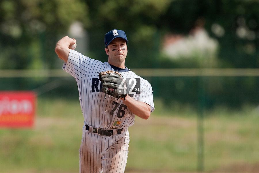 23 May 2009: Dany Scalabrini of Rouen throws the ball to first base during the 2009 challenge de France, a tournament with the best French baseball teams - all eight elite league clubs - to determine a spot in the European Cup next year, at Montpellier, France. Rouen wins 6-2 over La Guerche.