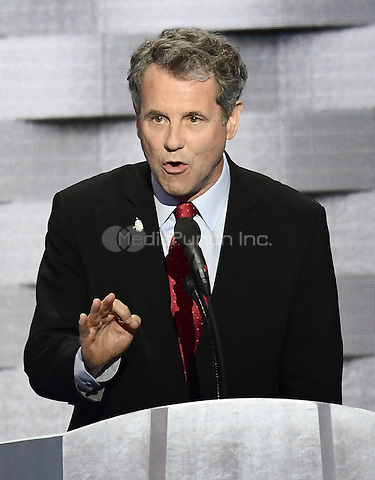 United States Senator Sherrod Brown (Democrat of Ohio)  makes remarks during the fourth session of the 2016 Democratic National Convention at the Wells Fargo Center in Philadelphia, Pennsylvania on Thursday, July 28, 2016.<br /> Credit: Ron Sachs / CNP/MediaPunch<br /> (RESTRICTION: NO New York or New Jersey Newspapers or newspapers within a 75 mile radius of New York City)