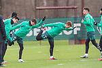 11.02.2020, Trainingsgelaende am wohninvest WESERSTADION,, Bremen, GER, 1.FBL, Werder Bremen Training, im Bild<br /> <br /> Spieler in der Aufwaermpase vor dem Training<br /> Joshua Sargent (Werder Bremen #19)<br /> Benjamin Goller (Werder Bremen #39)<br /> Ilia Gruev (Werder Bremen #28)<br /> Milos Veljkovic (Werder Bremen #13)<br /> <br /> <br /> Foto © nordphoto / Kokenge