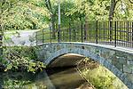Stone footbridge in The Back Bay Fens, Boston, Massachusetts, USA