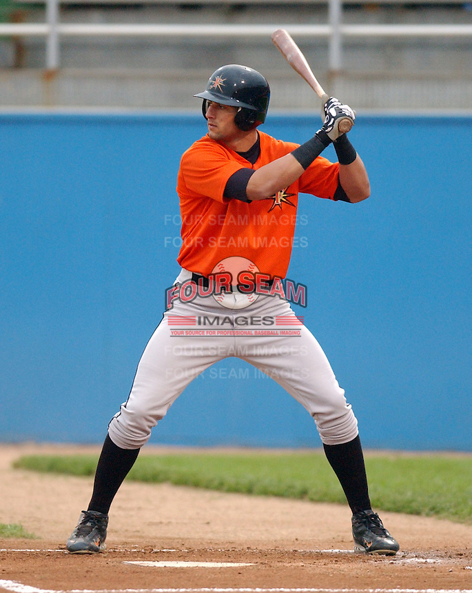 Nick Markakis of the Frederick Keys, Class A Carolina League affiliate of the Baltimore Orioles, in a game against the Potomac Cannons on April 29, 2005, at Pfitzner Stadium in Woodbridge, Virginia. (Tom Priddy/Four Seam Images)