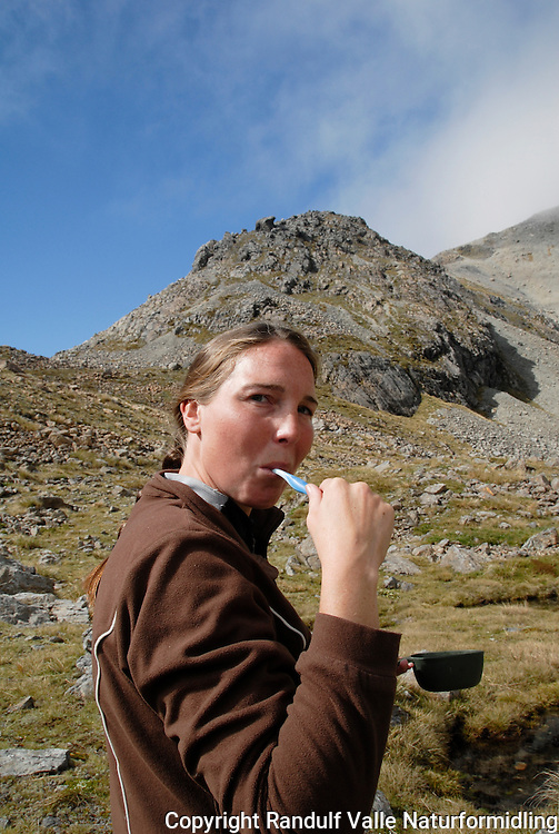 Jente pusser tenner. ---- Girl brushing teeth.