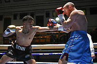 Harley Benn (black shorts) defeats James Gorman during a Boxing Show at York Hall on 2nd March 2018