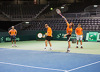 Switserland, Genève, September 16, 2015, Tennis,   Davis Cup, Switserland-Netherlands, Practise Dutch team, ltr : coach Martin Bohm, Tallon Griekspoor, Matwe Middelkoop and Tim van Rijthoven. <br /> Photo: Tennisimages/Henk Koster