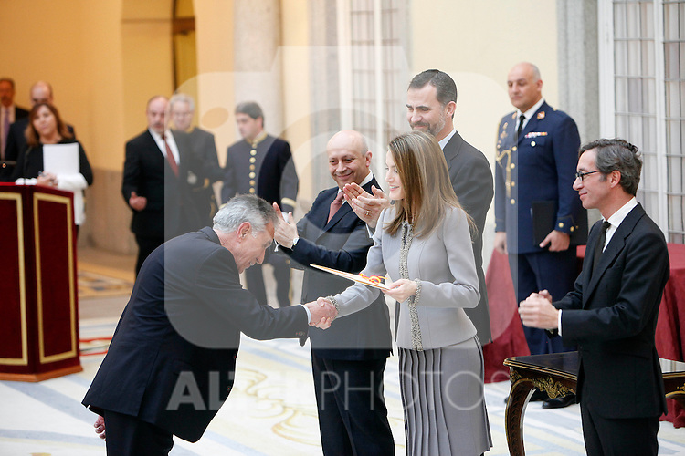 Jesus Hermida, Prince Felipe of Spain and Princess Letizia of Spain attend the National Awards of Culture 2011 and 2012 at Palacio de El Pardo. February 19, 2013. (ALTERPHOTOS/Caro Marin)