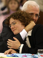 Rev. Irene Elizabeth Stroud, left, is hugged by The Reverand J. Dennis Williams, Respondents Counsel, following the reading of a guilty verdict  at her trial in Pughtown, Pa. Thursday Dec. 2, 2004. The latest clash in the struggle among mainline Protestant denominations over gay clergy hits a critical point with the church trial of Stroud, a United Methodist Church minister in Philadelphia who declared in a sermon last year that she is a lesbian living with her partner. (AP Photo/Bradley C Bower)