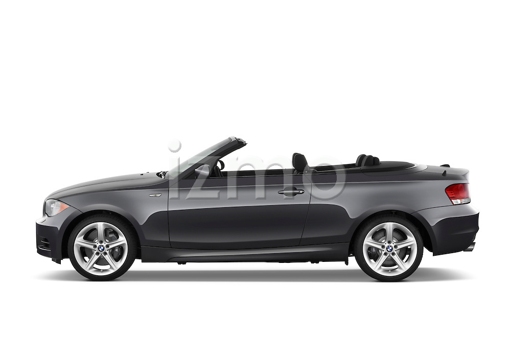 Driver side profile view of a 2007 - 2011 BMW 1-Series 135i convertible.