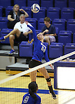 Marymount's Emilleigh Rettig hits during a college volleyball match at Washington &amp; Lee University Lexington, Vir., on Saturday, Oct. 5, 2013.<br /> Photo by Cathleen Allison