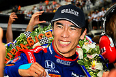 Verizon IndyCar Series<br /> Indianapolis 500 Race<br /> Indianapolis Motor Speedway, Indianapolis, IN USA<br /> Sunday 28 May 2017<br /> Takuma Sato, Michael Andretti Autosport Honda celebrates the win in Victory Lane<br /> World Copyright: Scott R LePage<br /> LAT Images<br /> ref: Digital Image lepage-170528-indy-10659<br /> ref: Digital Image lepage-170528-indy-10708
