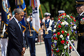 United States President Barack Obama pauses after laying a wreath at the Tomb of the Unknown Soldier at Arlington National Cemetery, May 26, 2014 in Arlington, Virginia. President Obama returned to Washington Monday morning after a surprise visit to Afghanistan to visit U.S. troops at Bagram Air Field.<br /> Credit: Drew Angerer / Pool via CNP