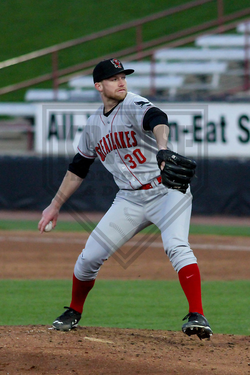 Great Lakes Loons pitcher Kevin Brown (30) during a Midwest League game against the Wisconsin Timber Rattlers on April 26th, 2016 at Fox Cities Stadium in Appleton, Wisconsin.  Wisconsin defeated Great Lakes 4-3. (Brad Krause/Krause Sports Photography)