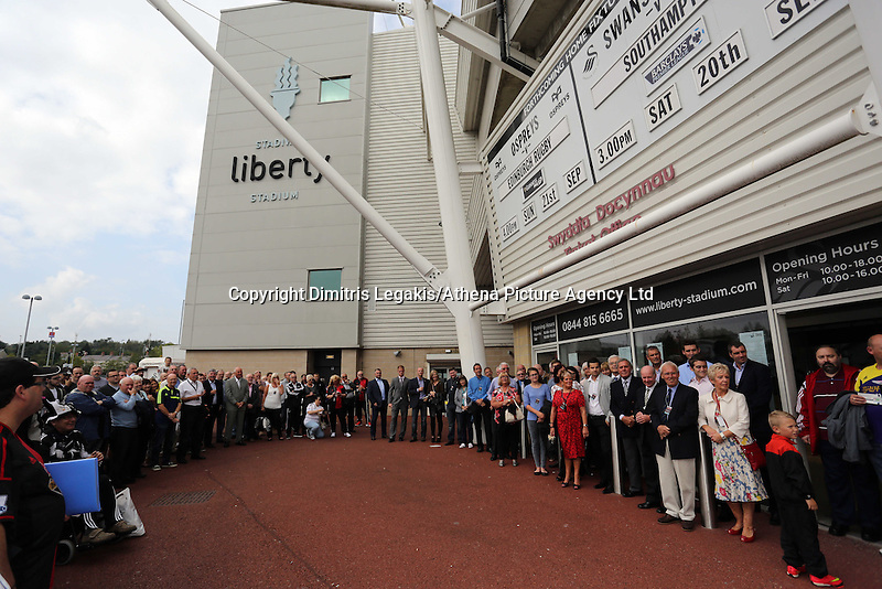 Pictured: Saturday 22 September 2014<br /> Re: Unveiling of plaques at the Robbie James Wall of Fame at the Liberty Stadium, Swansea, south Wales.