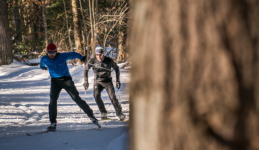 Cross-country skiing at the Noquemanon Trail Network's Forestville Trailhead in Marquette, Michigan.