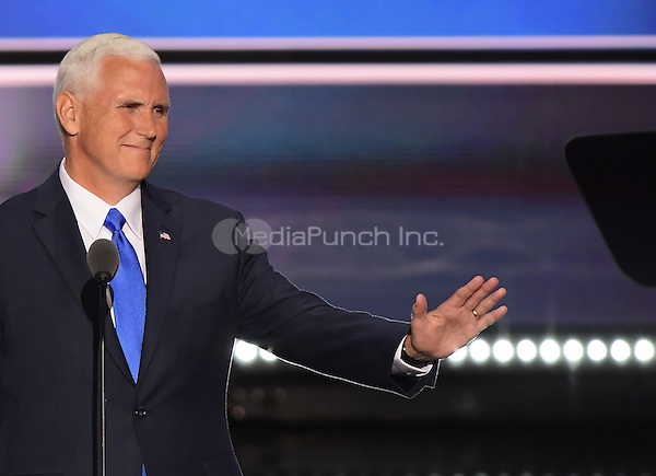 Governor Mike Pence (Republican of Indiana), the GOP nominee for Vice President of the United States delivers his acceptance speech at the 2016 Republican National Convention held at the Quicken Loans Arena in Cleveland, Ohio on Wednesday, July 20, 2016.<br /> Credit: Ron Sachs / CNP/MediaPunch<br /> (RESTRICTION: NO New York or New Jersey Newspapers or newspapers within a 75 mile radius of New York City)