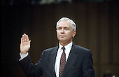Washington, DC - November 9, 2006 -- File photo of Dr. Robert Gates, Secretary of Defense-designate taken on September 16, 1991 as he was sworn-in to testify during his confirmation hearings to be Director of the Central Intelligence Agency (CIA) before the United States Senate Intelligence Committee.  Dr. Gates was nominated on Wednesday, November 8, 2006 as Defense Secretary to replace Donald Rumsfeld by United States President George W. Bush..Credit: Arnie Sachs / CNP