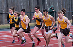 THOMASTON,  CT-040919JS12- Runners take to the track for the 800 meter run a Berkshire League meet between Thomaston and Housatonic Tuesday at Nystrom's Sports Complex in Thomaston.<br /> Jim Shannon Republican American