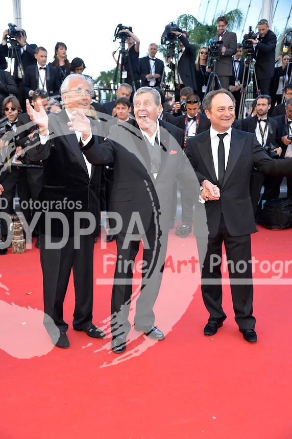 Michael Legrand, Jerry Lewis und Kevin Pollak bei der Premiere von 'Nebraska'. Festival de Cannes 2013 / 66. Internationale Filmfestspiele von Cannes / 66th Annual Cannes Film Festival, 23.05.2013