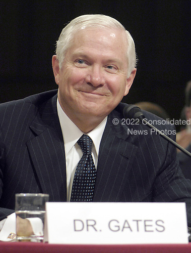 Washington, D.C. - December 5, 2006 -- United States Secretary of Defense-designate Dr. Robert M. Gates fields questions regarding his confirmation during a United States Senate Armed Services Committee hearing in Washington, D.C. on Tuesday, December 5, 2006.  <br /> Credit: Cherie A. Thurlby - DoD via CNP