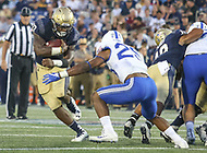 Annapolis, MD - October 7, 2017: Navy Midshipmen fullback Chris High (33) avoids a tackle during the game between Air Force and Navy at  Navy-Marine Corps Memorial Stadium in Annapolis, MD.   (Photo by Elliott Brown/Media Images International)