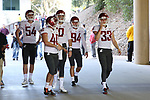 Washington State punter, Oscar Draguicevich, along with the rest of the special teams unit, come down the ramp to the field prior to the Cougs big road victory over the Stanford Cardinal.