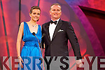 Kerry Rose Ann-Marie Hayes with presenter Dáithí Ó Sé during the Rose Selection on Monday night at the Dome.