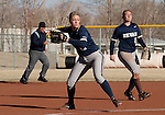 March 10, 2012:   Nevada Wolf Pack pitcher Mallary Darby throws to first against the San Diego Toreros during their NCAA softball game played as part of the The Wolf Pack Classic at Christina M. Hixson Softball Park on Saturday in Reno, Nevada.