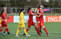 20180326 - ZALTBOMMEL , THE NETHERLANDS : Belgian players celebrating one of their six goals pictured during the UEFA Women Under 17 Elite round game between Belgium WU17 and Romania WU17, on the second matchday in group 1 of the Uefa Women Under 17 elite round in The Netherlands , monday 26 th March 2018 . PHOTO SPORTPIX.BE    DIRK VUYLSTEKE