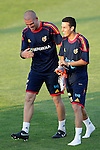 MADRID (24/05/09).- The Spanish Soccer national team has officially begun their hunt for the championship, arriving in the Madrid municipality of Las Rozas to begin preparing for South Africa World Cup.  Victor Valdes and Pedro Rodriguez...PHOTO: Cesar Cebolla / ALFAQUI