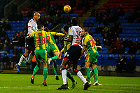 Bolton Wanderers' Josh Magennis goes close with a header in the closing stages<br /> <br /> Photographer Alex Dodd/CameraSport<br /> <br /> The EFL Sky Bet Championship - Bolton Wanderers v West Bromwich Albion - Monday 21st January 2019 - University of Bolton Stadium - Bolton<br /> <br /> World Copyright © 2019 CameraSport. All rights reserved. 43 Linden Ave. Countesthorpe. Leicester. England. LE8 5PG - Tel: +44 (0) 116 277 4147 - admin@camerasport.com - www.camerasport.com