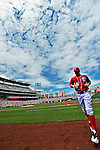 20 May 2012: Washington Nationals outfielder Bryce Harper returns to the dugout after warming up prior to a game against the Baltimore Orioles at Nationals Park in Washington, DC. The Nationals defeated the Orioles 9-3 to salvage the third game of their 3-game series. Mandatory Credit: Ed Wolfstein Photo