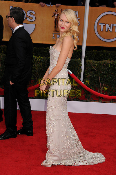 Naomi Watts (wearing Marchesa)  .Arrivals at the 19th Annual Screen Actors Guild Awards at the Shrine Auditorium in Los Angeles, California, USA..27th January 2013.SAG SAGs full length grey gray lace strapless dress silver clutch bag side.CAP/ADM/BP.©Byron Purvis/AdMedia/Capital Pictures