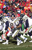 San Diego Chargers quarterback Doug Flutie prepares to make a hand off in the second half against the Chiefs at Arrowhead Stadium in Kansas City, Missouri on December 23, 2001.  The Chiefs won 20-17.