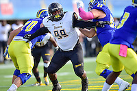 Newark, DE - OCT 29, 2016: Towson Tigers defensive end Kanyia Anderson (99) in pursuit of the quarterback during game between Towson and Delaware at Delaware Stadium Tubby Raymond Field in Newark, DE. (Photo by Phil Peters/Media Images International)