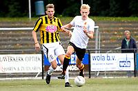 HAREN - Voetbal, Be Quick - OFC, Esserberg , Derde Divisie zondag, seizoen 2017-2018, 03-09-2017,  Arnoud Bentum (r) met Romano de Jonge