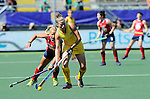 The Hague, Netherlands, June 12: Kate Jenner #22 of Australia in action during the field hockey semi-final match (Women) between USA and Australia on June 12, 2014 during the World Cup 2014 at Kyocera Stadium in The Hague, Netherlands. Final score after full time 2-2 (0-1). Score after shoot-out 1-3. (Photo by Dirk Markgraf / www.265-images.com) *** Local caption *** Kelsey Kolojejchick #7 of USA, Kate Jenner #22 of Australia