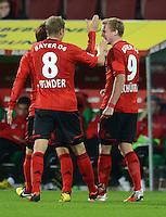 FUSSBALL   1. BUNDESLIGA  SAISON 2012/2013   5. Spieltag FC Augsburg - Bayer 04 Leverkusen           26.09.2012 Jubel nach dem Tor Lars Bender und Andre Schuerrle (v. li., Bayer 04 Leverkusen)